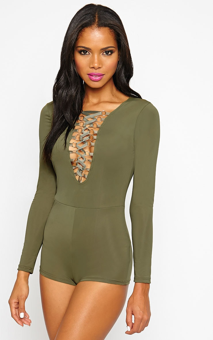 Christelle Khaki Lace Up Front Playsuit 4