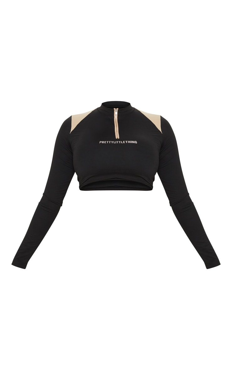 PRETTYLITTLETHING Stone Panel Zip Long Sleeve Gym Top 3