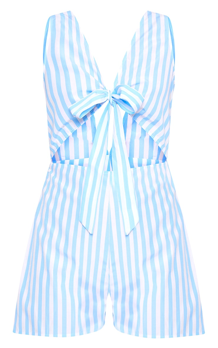 Blue Stripe Tie Front Cut Out Playsuit 3
