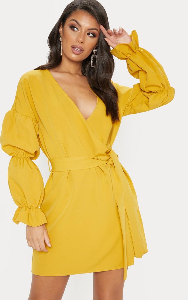 Mustard Wrap Puff Sleeve Shift Dress 1