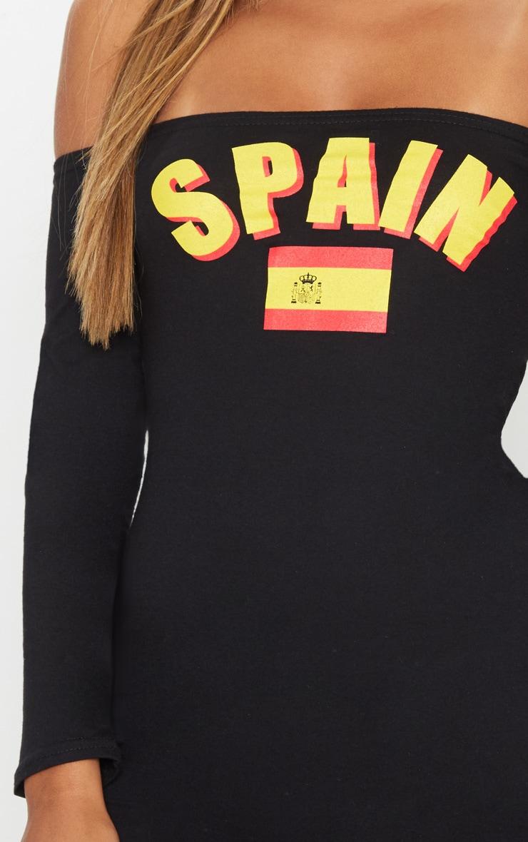 Spain Black Football Bardot Bodycon Dress 5