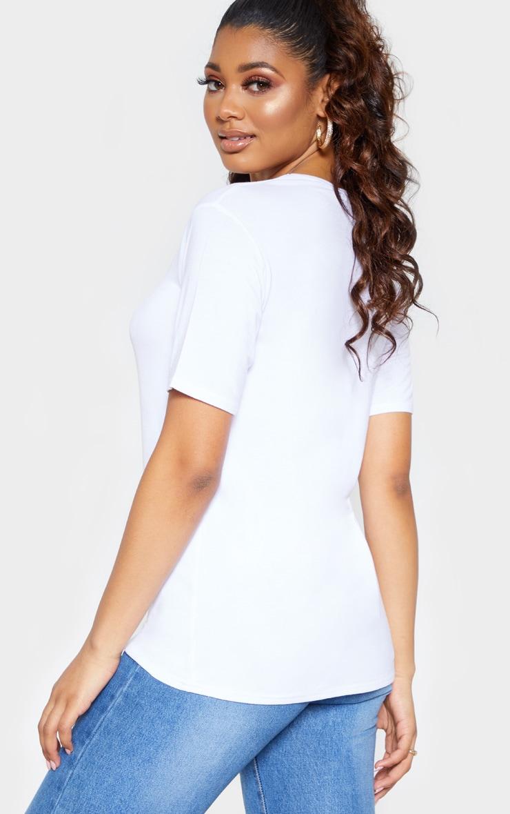 Tall White Basic V Neck T shirt 2