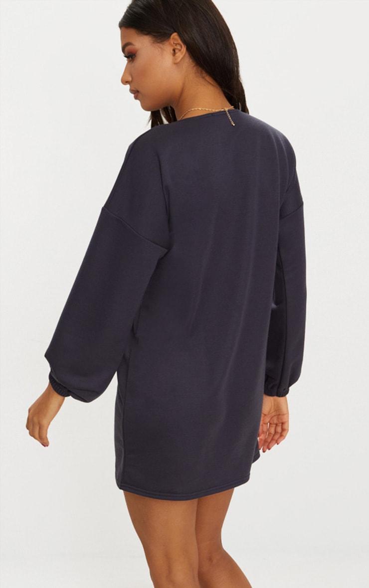 Charcoal Blue Zip Front Sweat Dress 2