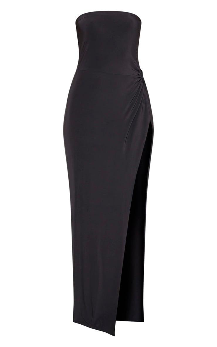 Black Bandeau High Slit Maxi Dress  3