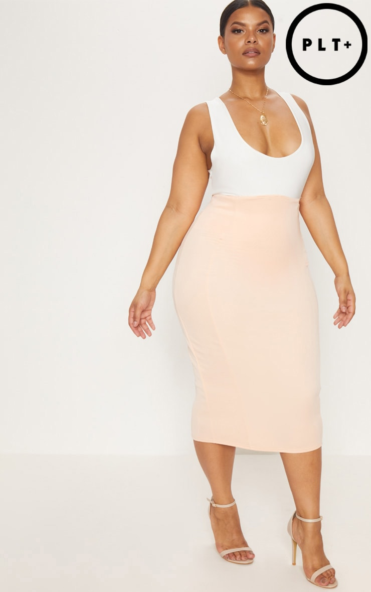 Plus Nude Extreme High Waist Midi Skirt 1