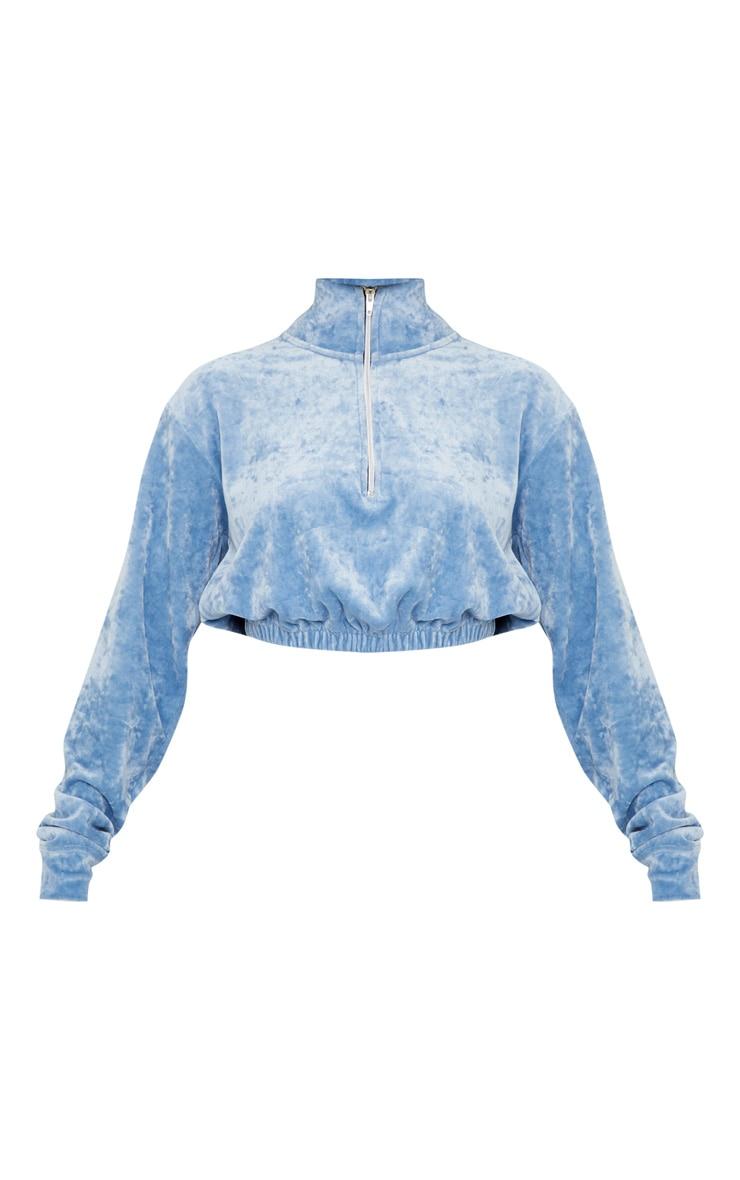 Pale Blue Velour Crop Zip Up Jacket 3