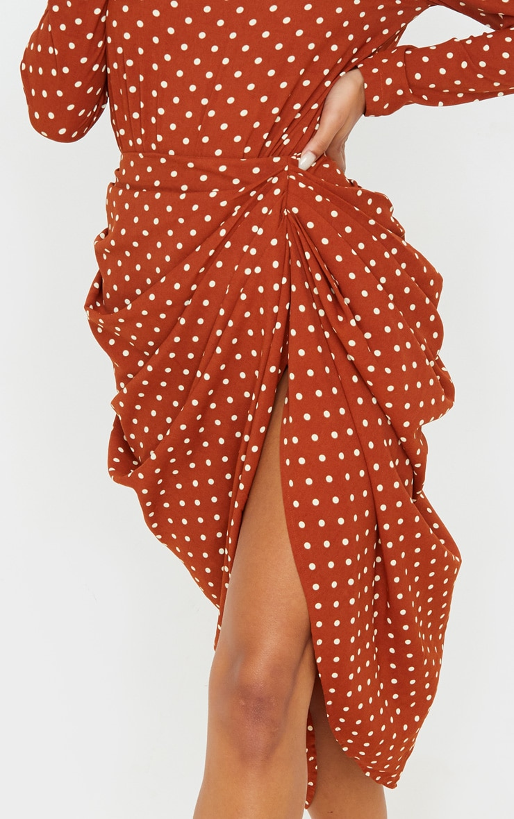 Terracotta Polka Dot Split Side Midi Skirt 5