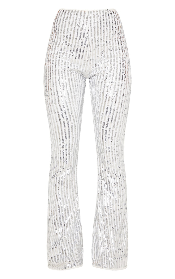 Silver Sequin High Waisted Flare Trousers 4