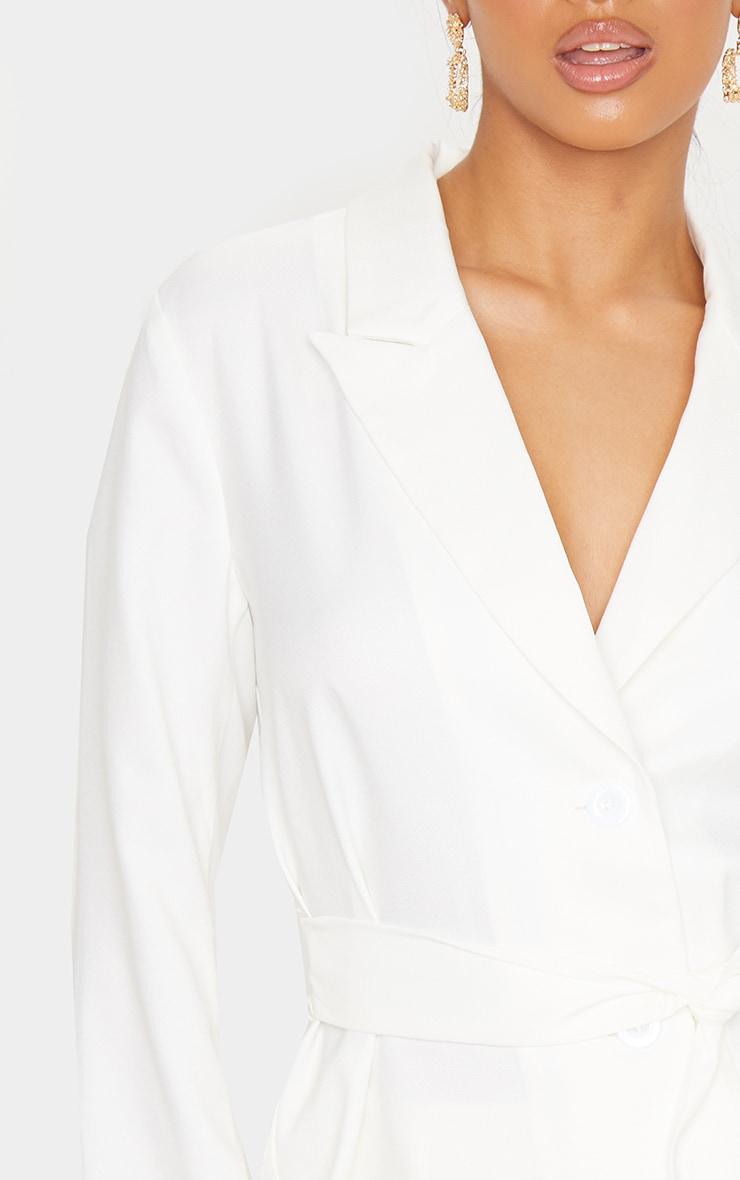 Petite Cream Oversized Tie Waist Blazer 5