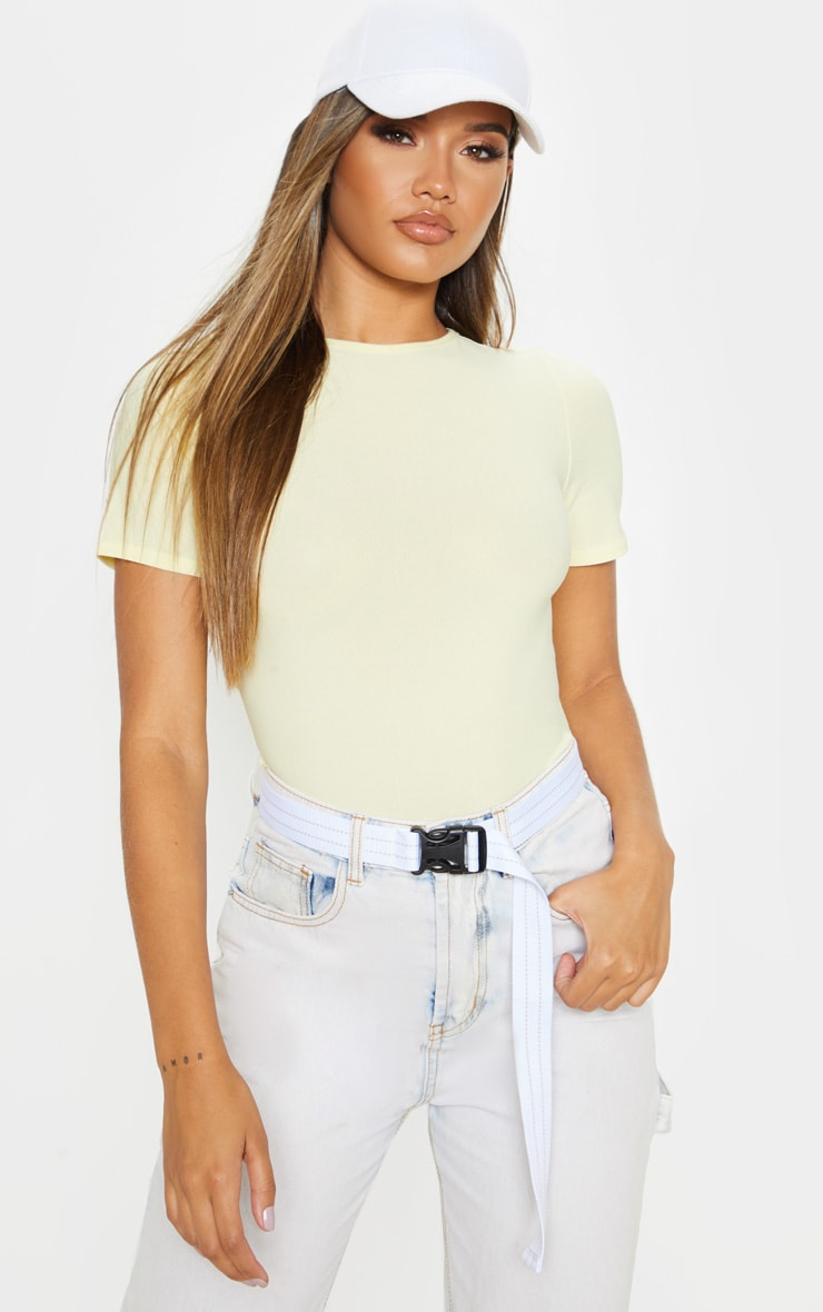 Lemon Crepe Short Sleeve Thong Bodysuit 5