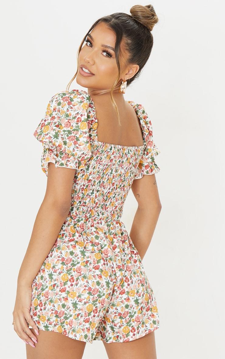 Multi Floral Print Shirred Waist Tie Bust Romper 2