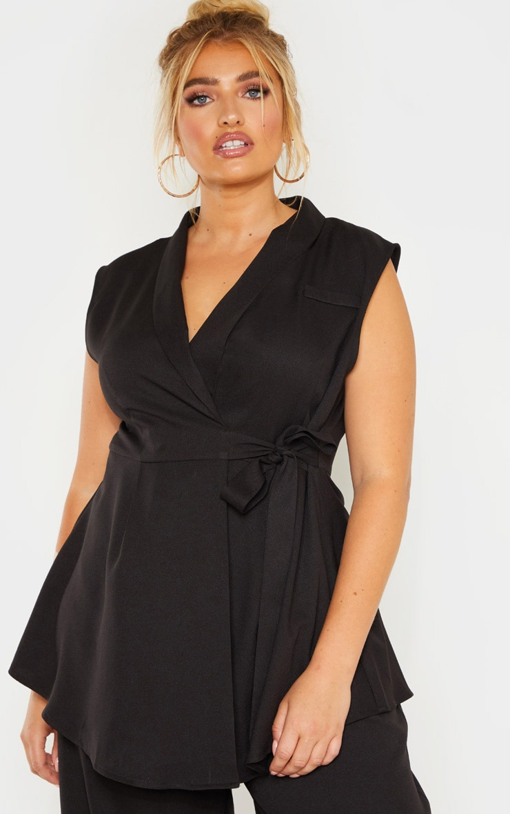 Plus Black Drape Detail Sleeveless Blazer 1