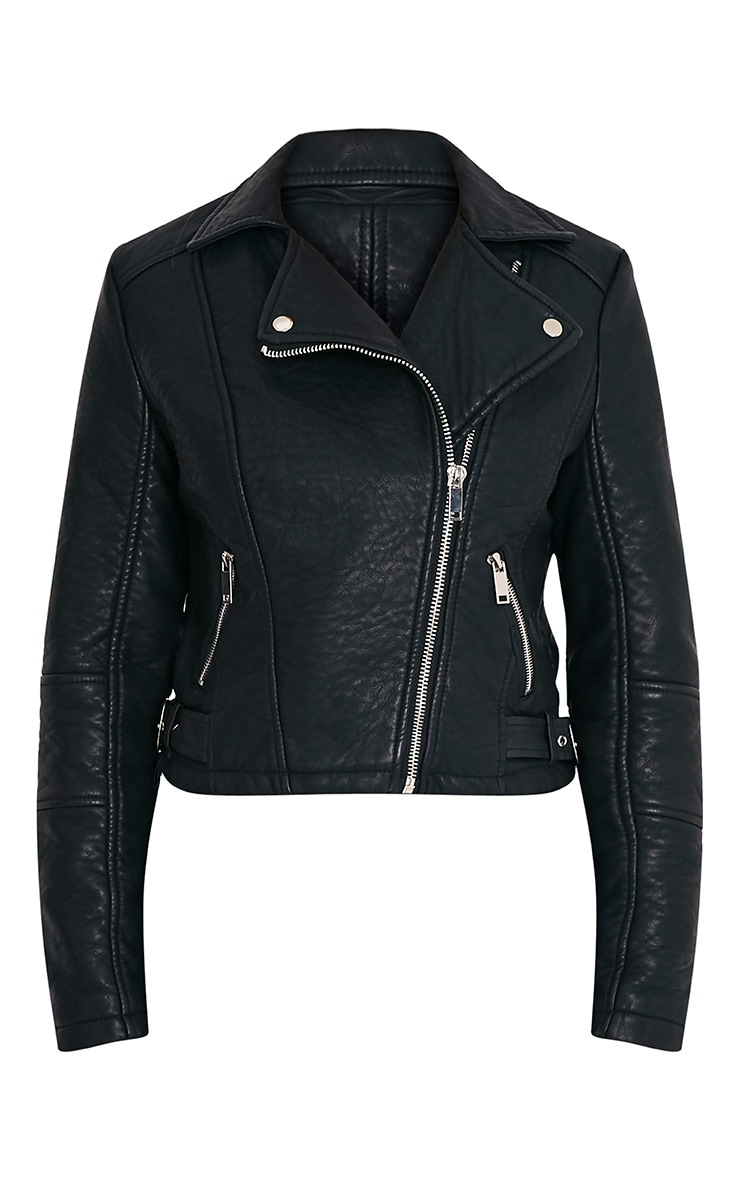 Tayab Black Faux Leather Textured Bonded Biker Jacket 3