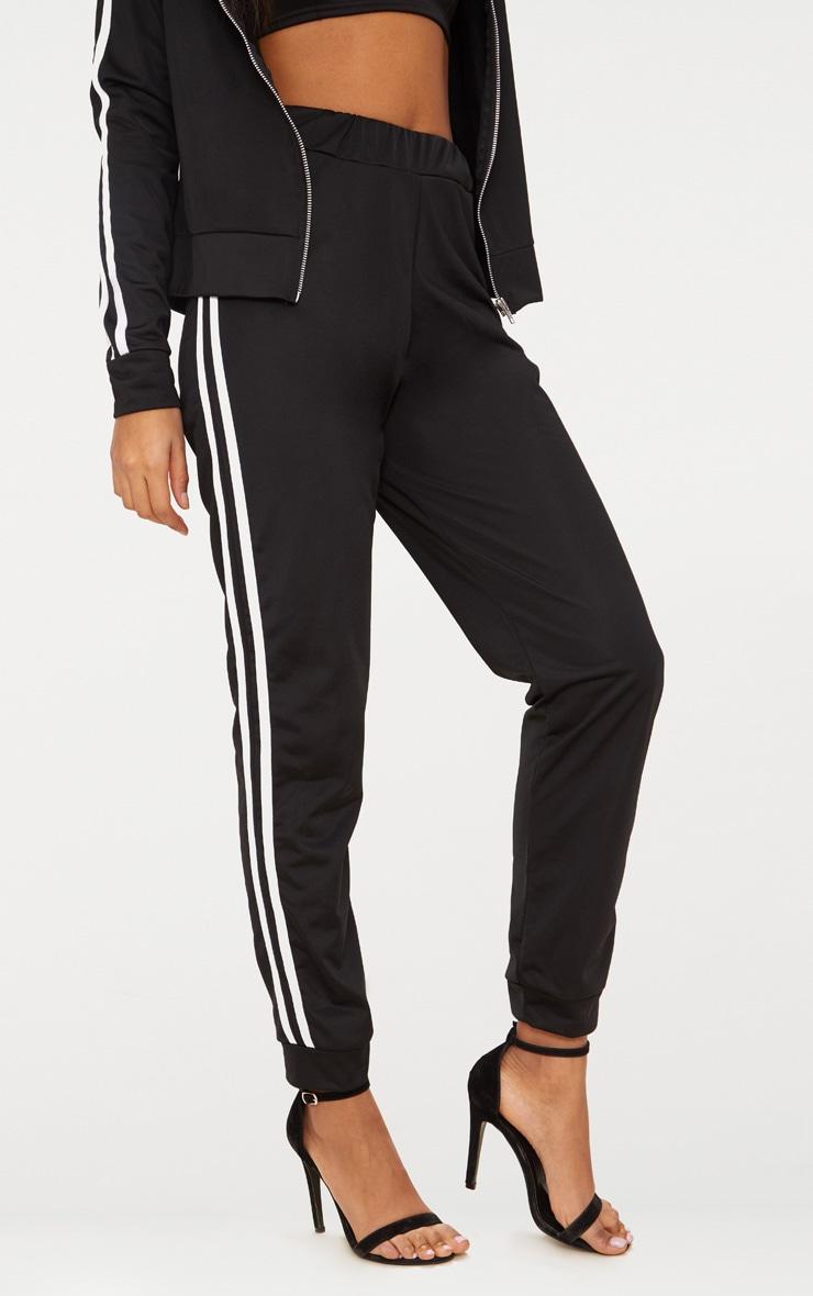 Pantalon de jogging noir à bandes sportives 2