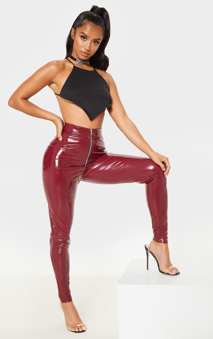 Petite Burgundy Vinyl Zip Detail Pants 1