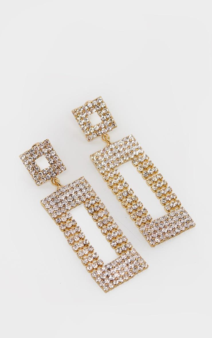 Gold Diamante Door Knocker Earrings 1