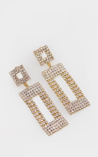 Gold Diamante Door Knocker Earrings