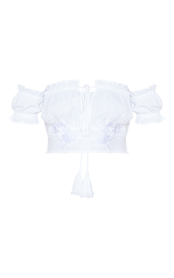 White Embroidered Ruched Applique Milkmaid Top 3