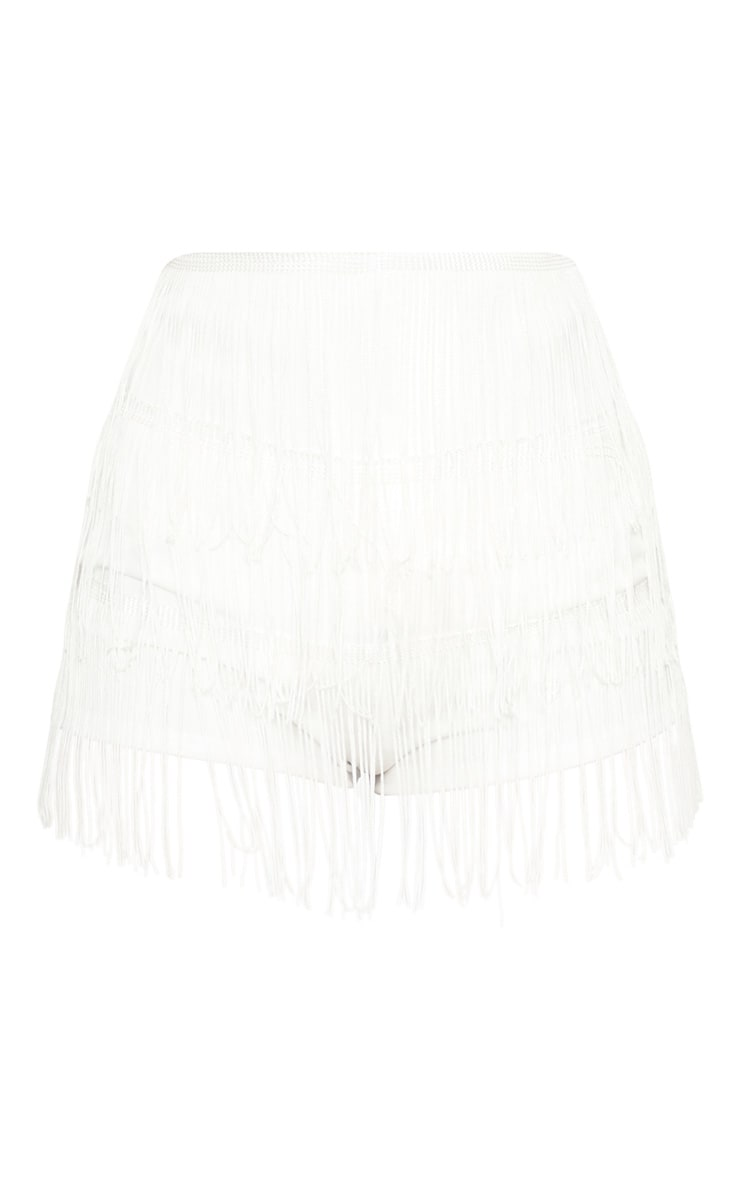 White Tirered Fringe Short 3