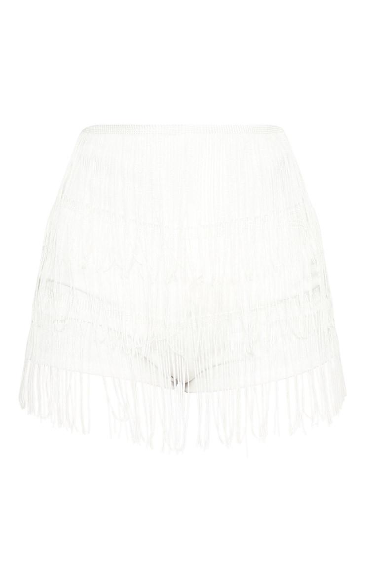 White Tiered Fringe Short 3