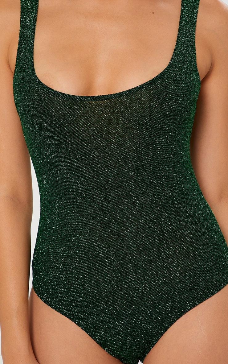 Green Glitter Square Neck Thong Bodysuit  6
