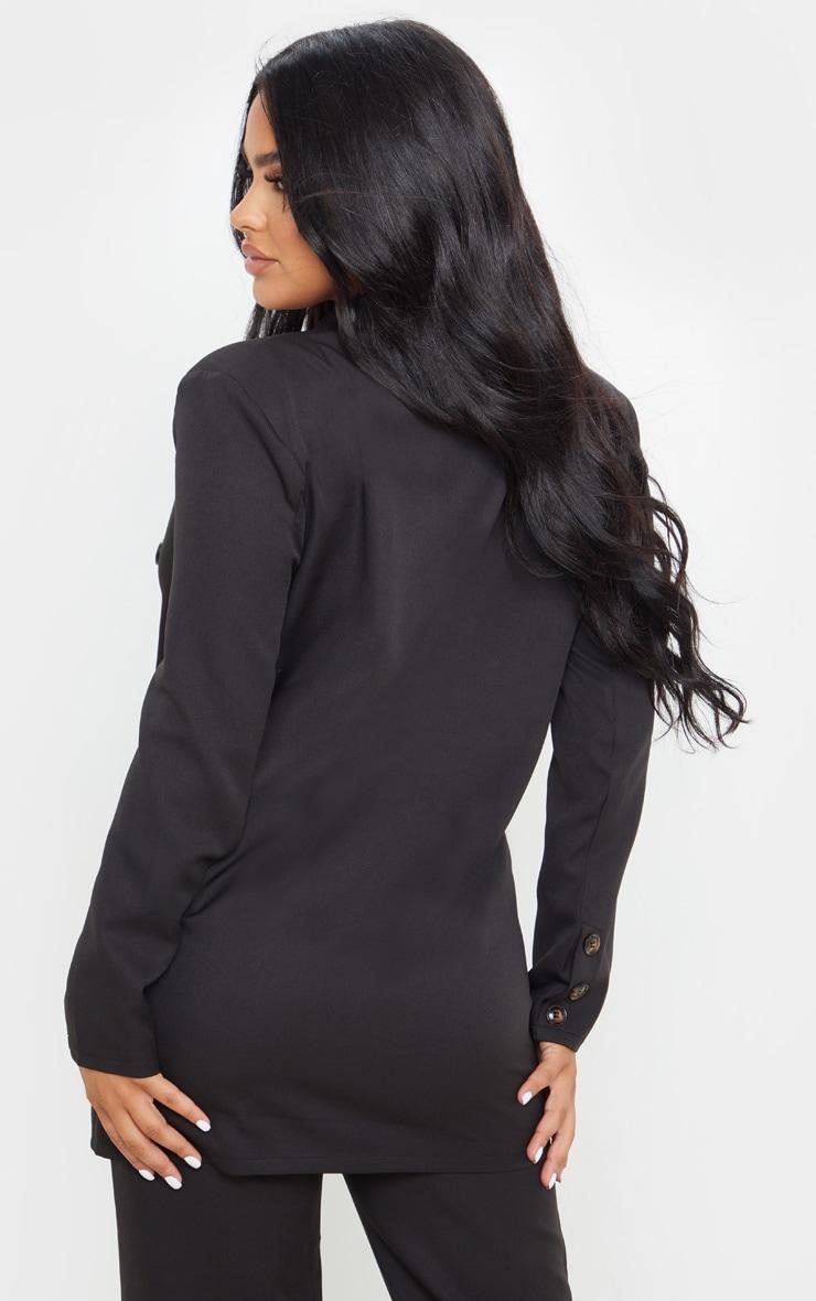 Petite Black Woven Oversized Longline Button Detail Blazer  2