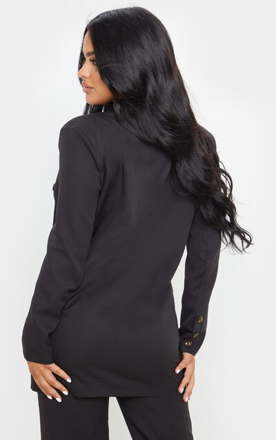Petite Black Woven Oversized Longline Button Detail Blazer