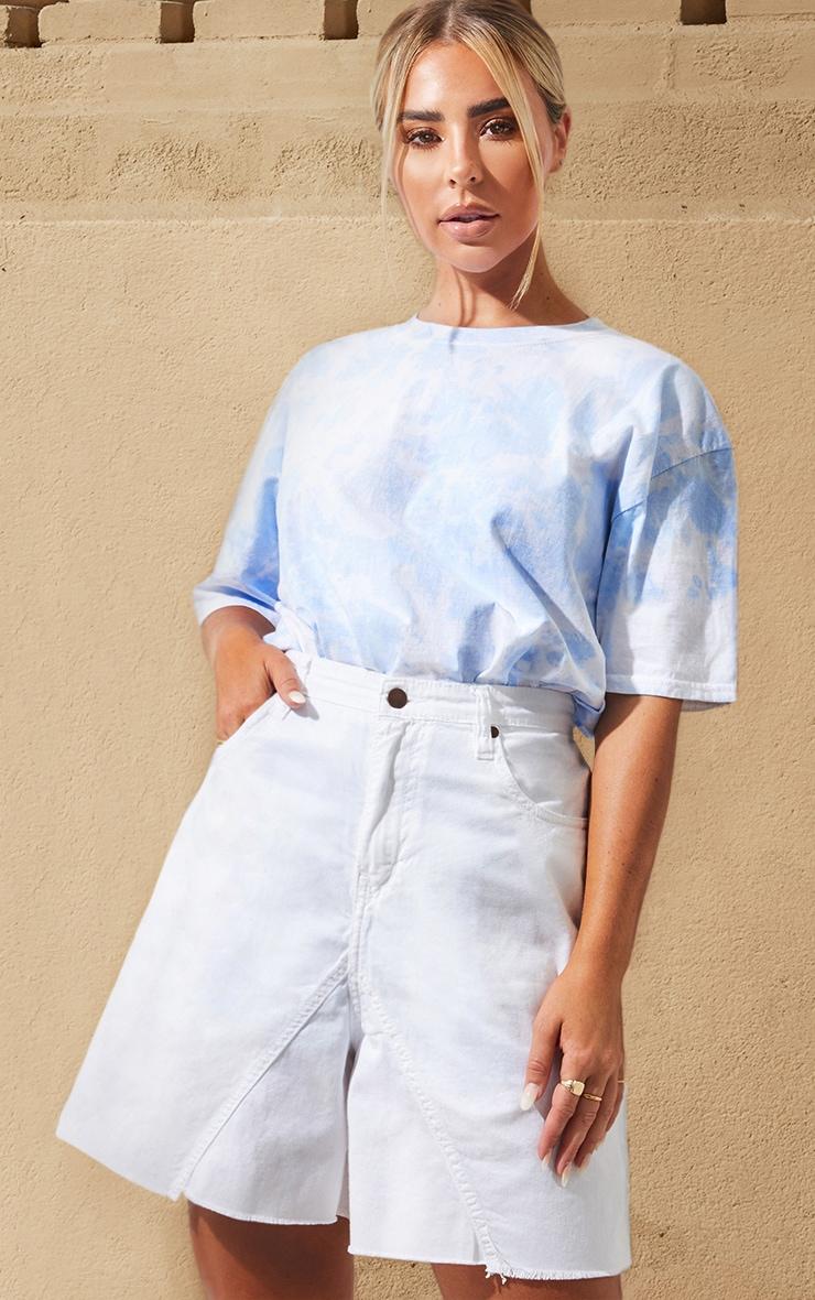 White Denim Longline Shorts 1