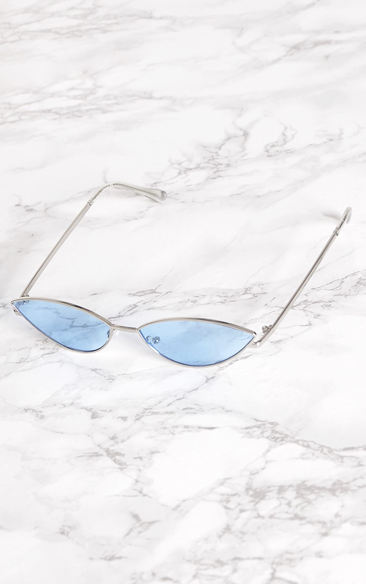 Blue Metal Oval Cat Eye Sunglasses 2