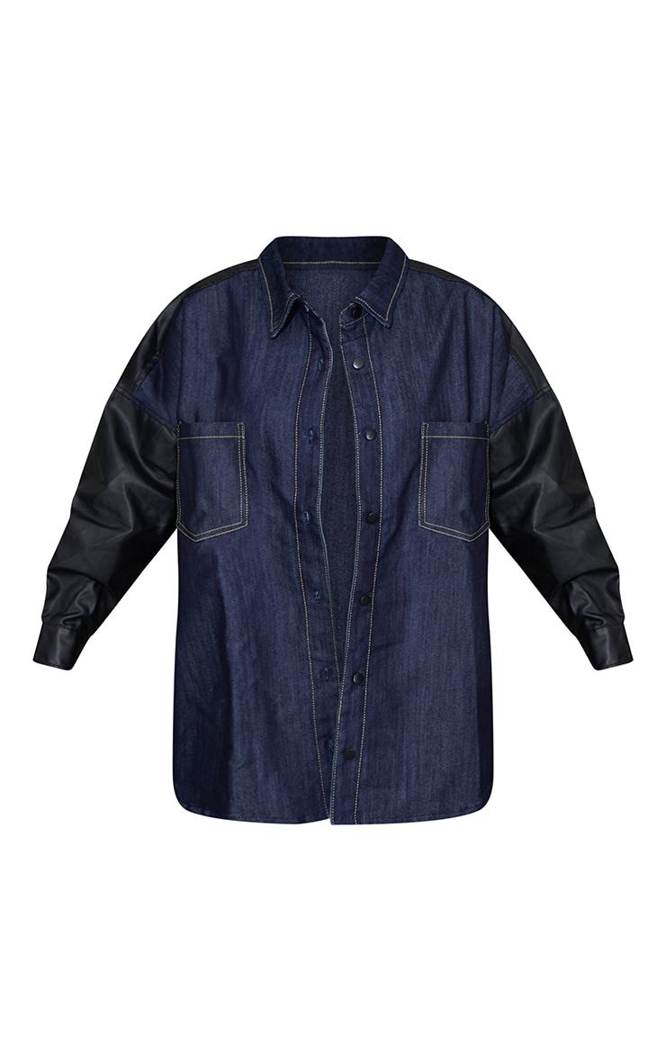 Dark Blue Wash Contrast Denim Coated Shirt 5