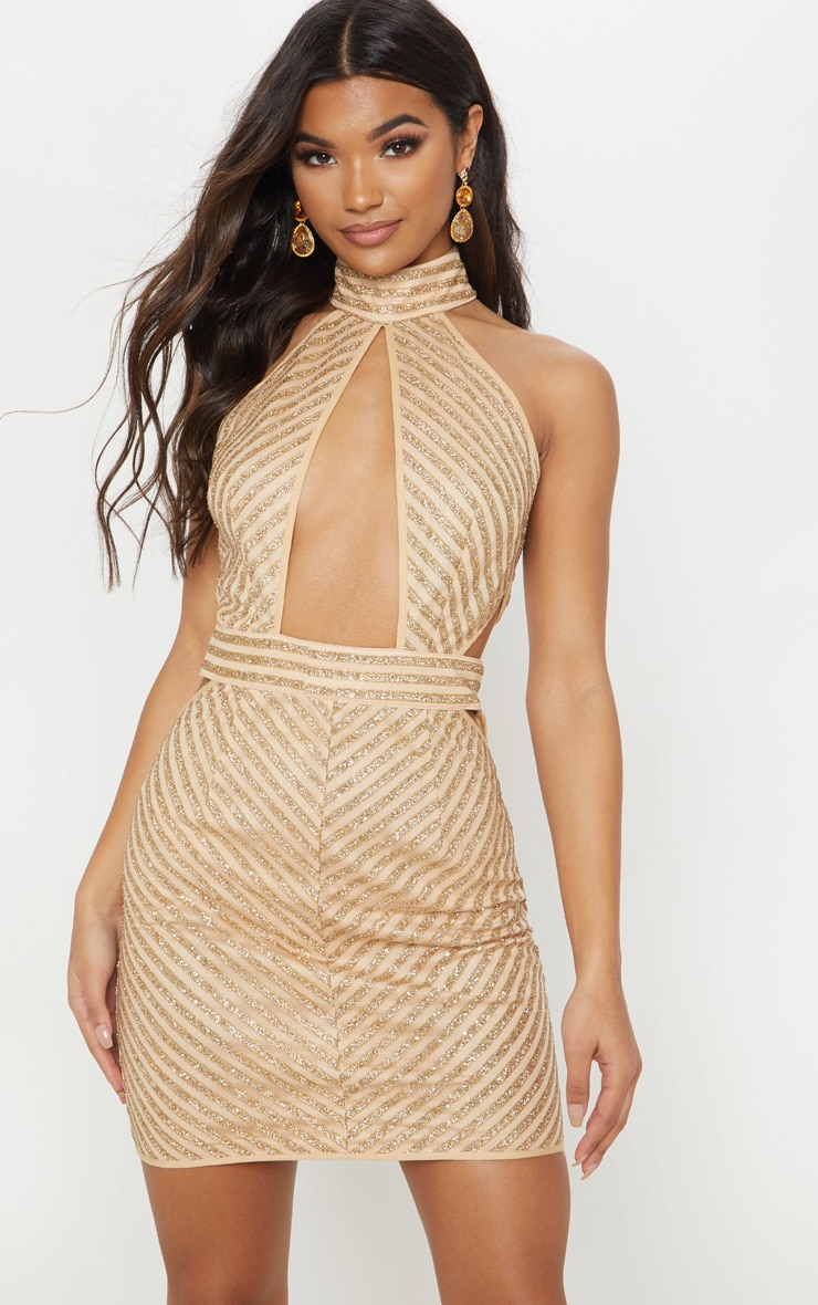 Gold High Neck Keyhole Glitter Stripe Bodycon Dress 4