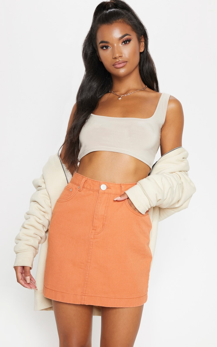 Tobacco Denim Skirt