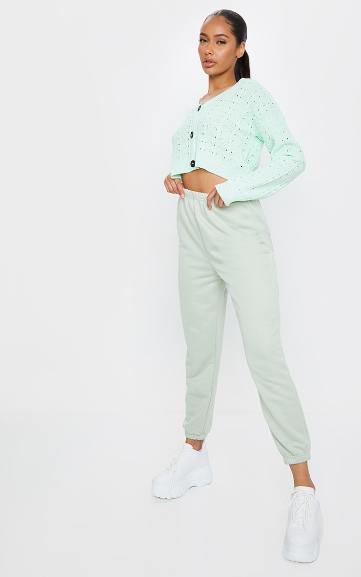 Mint Cropped Cable Pointelle Button Down Cardigan 3