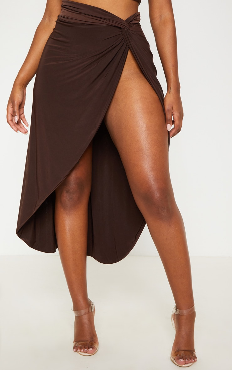 Shape Chocolate Brown Knot Front Split Maxi Skirt 2