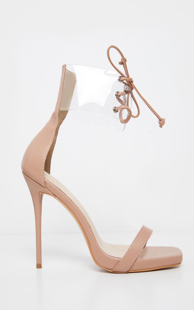 Nude Clear Cuff Square Toe High Sandal 3