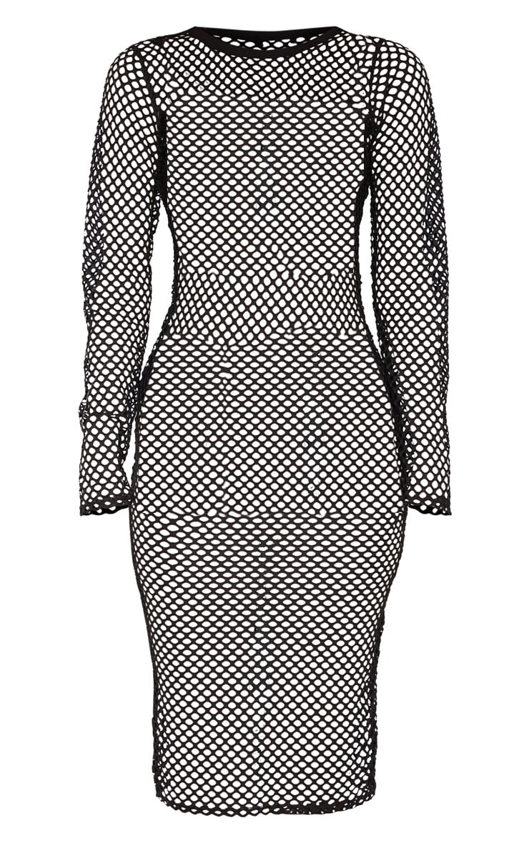 Tall Black Fishnet Mesh Long Sleeve Midi Dress 4