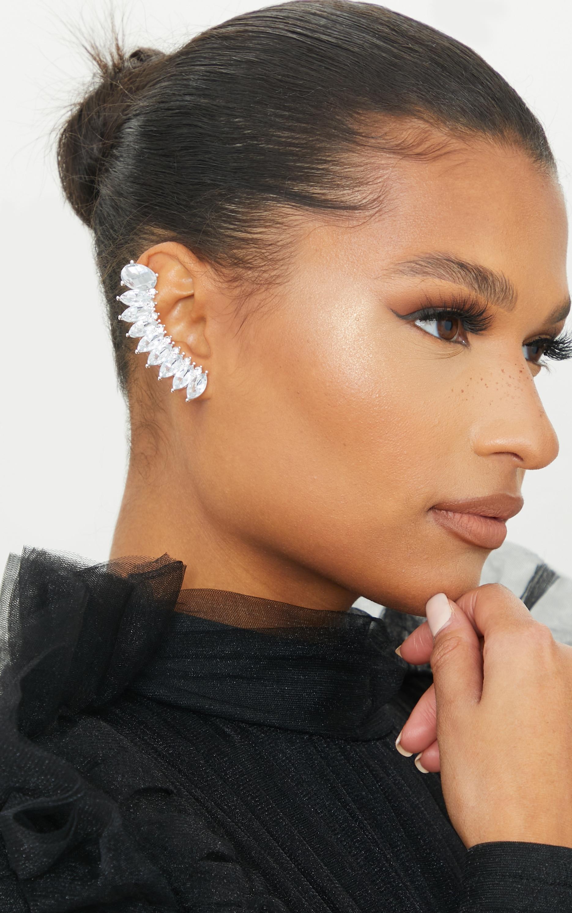 Silver Oversized Diamante Ear Cuff 1
