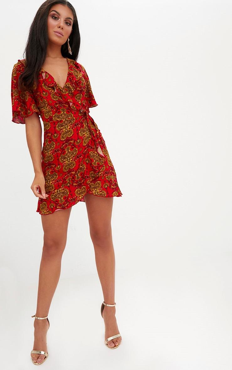 Red Chain Print  Wrap Dress 4