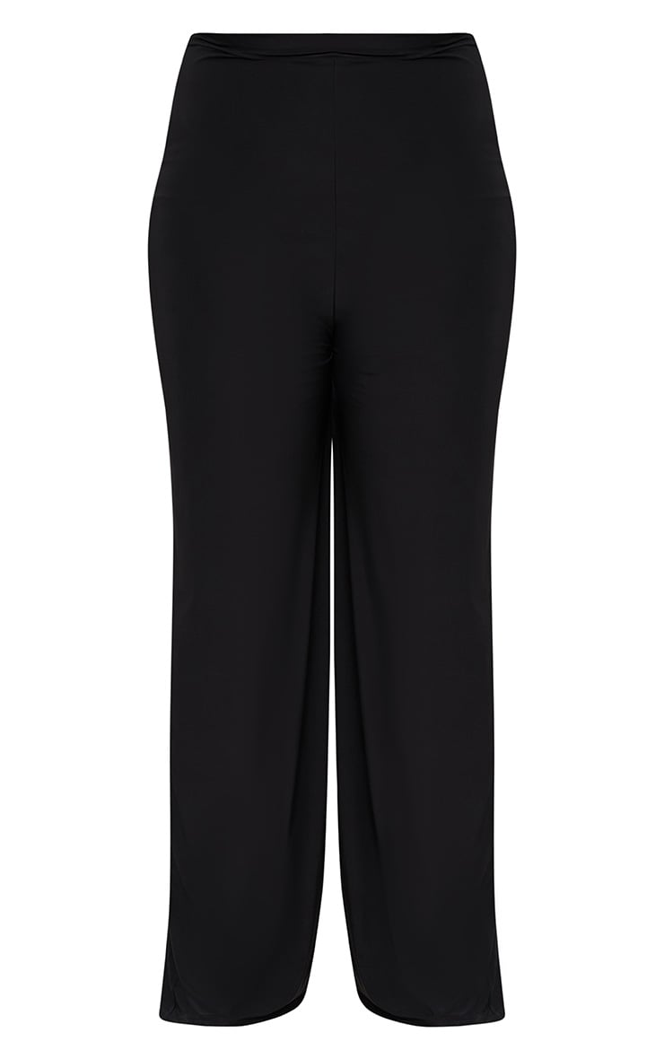 Plus Black Slinky Wide Leg Trousers 3
