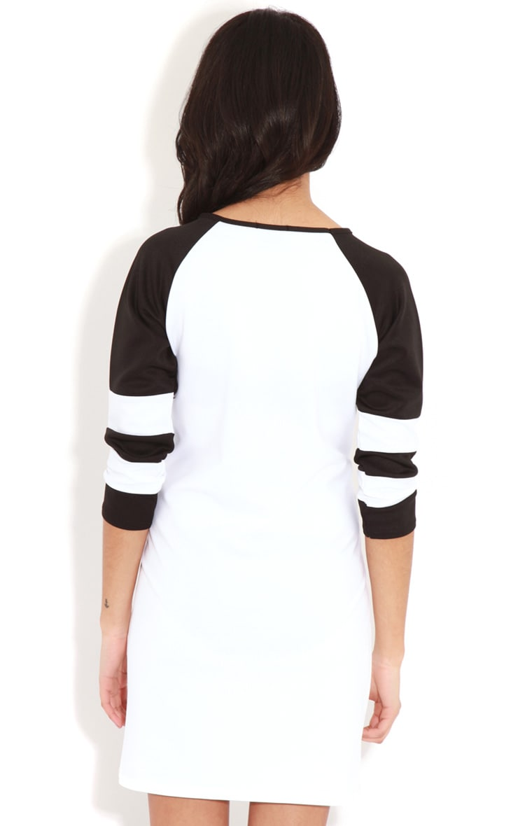Jolyn Monochrome Stripe Scuba Dress 2