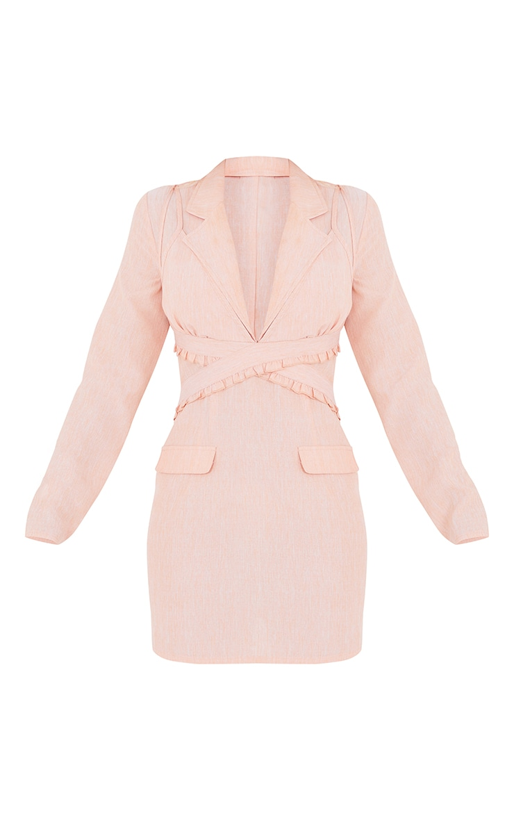 Apricot Linen Bralette Detail Blazer Style Bodycon Dress 5