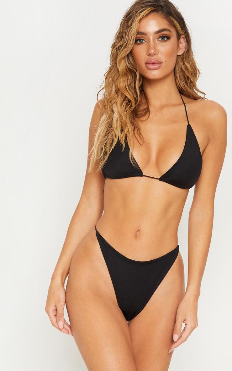 Black Minimal Elastic Triangle Bikini Top
