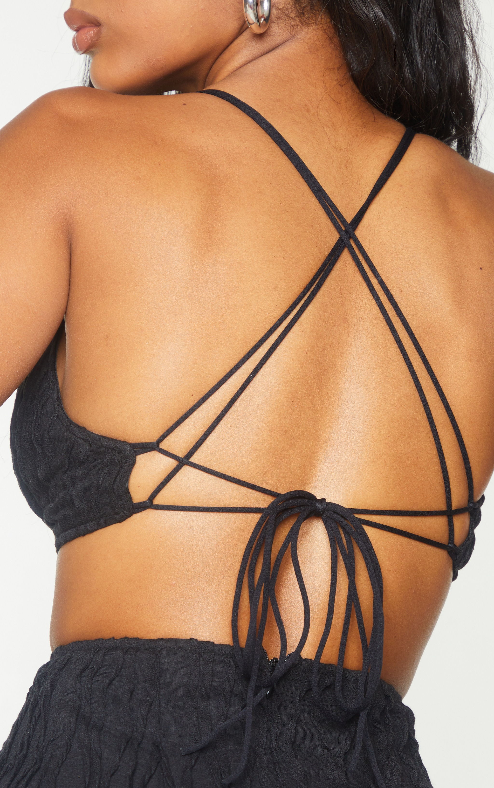 Shape Black Textured Rib Tie Back Plunge Bralet 4