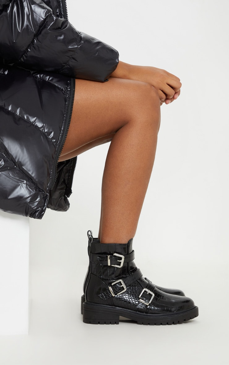 Black Triple Strap Buckle Biker Boot  3