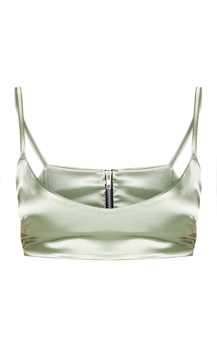 Sage Green Satin Scoop Neck Cropped Top 4