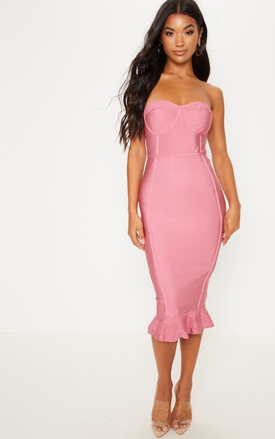 9c8213cc266e Rose Frill Hem Bandage Midi Dress