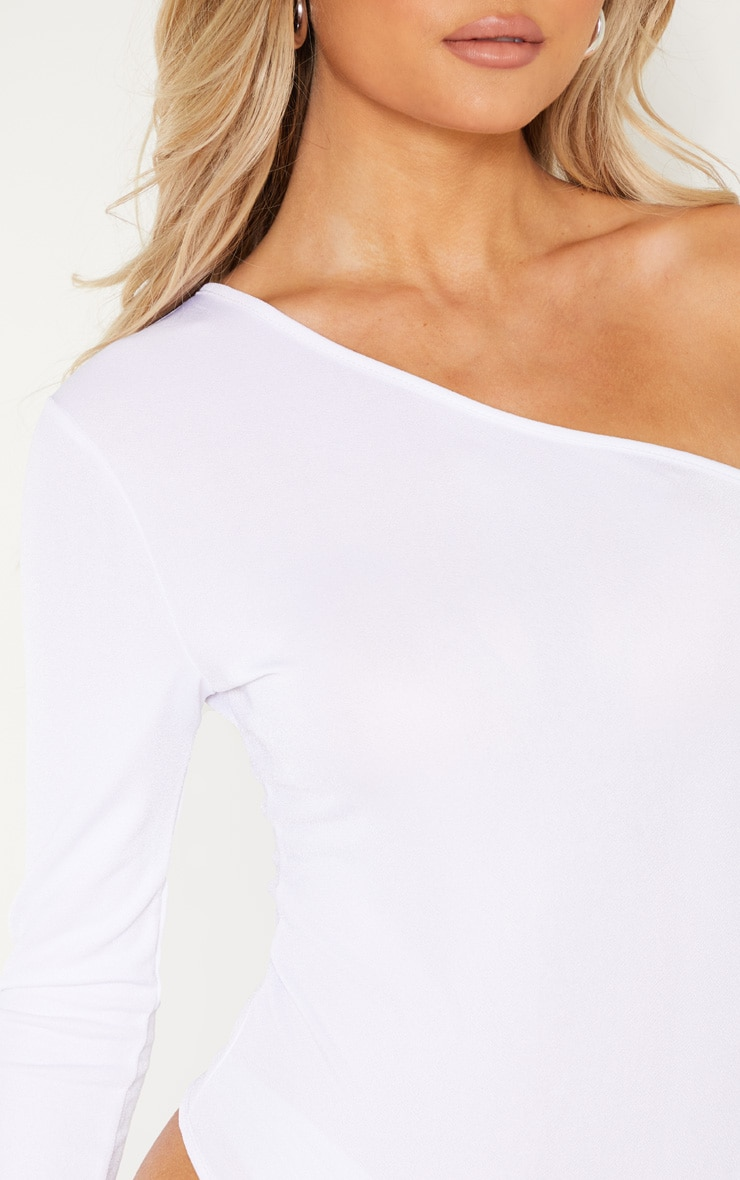 Tall White Stretch Crepe One Shoulder Thong Bodysuit 7