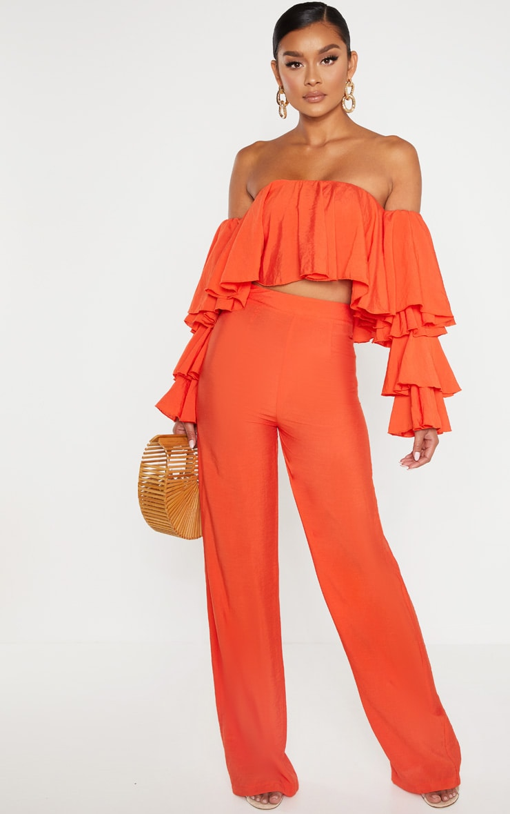 Bright Orange Woven Bardot Tiered Sleeve Crop Top 4