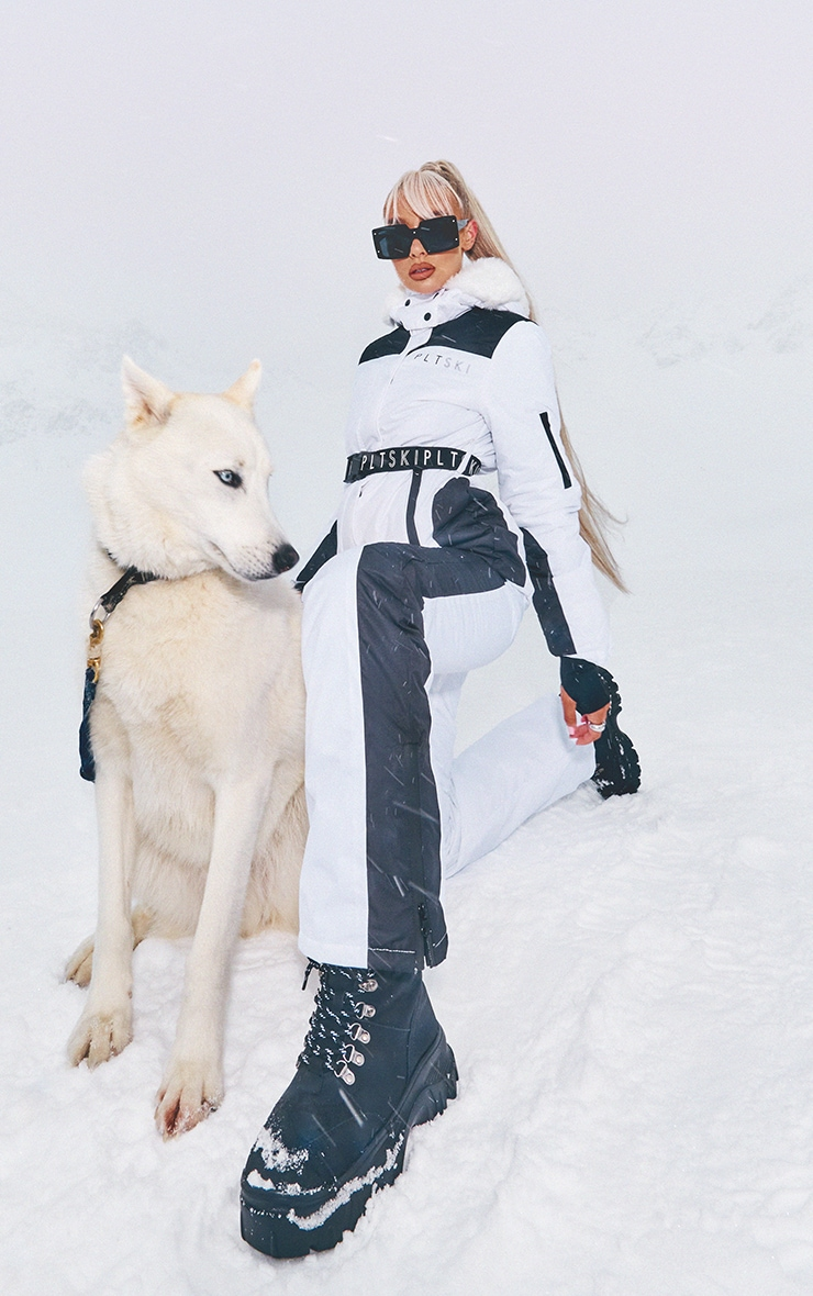 PRETTYLITTLETHING Ski Mono Faux Fur Hooded Belted Ski Jacket 1