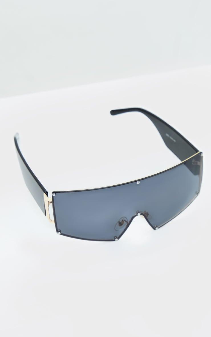Black Oversized Square Frameless Sunglasses 2